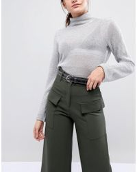 Pieces - Leather Studded Jeans Belt - Lyst