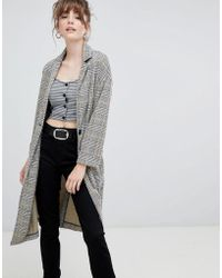 New Look - Check Textured Duster Coat - Lyst