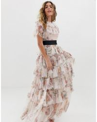 Needle & Thread - Tiered Floral Maxi Dress With Contrast Waistband In Rose Quartz - Lyst