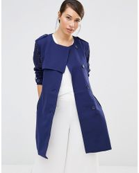 Lavand - Soft Drapey Trench Coat - Blue - Lyst