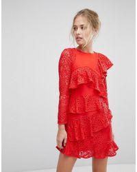 Aijek - Long Sleeve Mini Lace Shift Dress With Ruffle Detail - Lyst