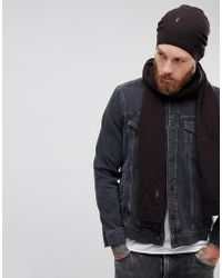 AllSaints - Fen Beanie And Scarf Giftset In Lambswool Blend - Lyst