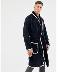 Lyst - ASOS Loungewear Brushed Cotton Dressing Gown in Gray for Men 493ba03cc