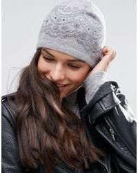 Alice Hannah - Scallop Lace Print Beanie - Lyst