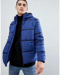 63394f2283 Only & Sons - Hooded Puffer Jacket With Brand Tape Detail - Lyst