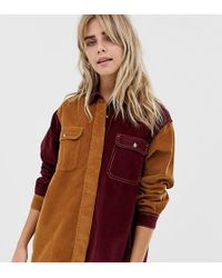 1bf297751c1e8 Pull Bear - Cord Colour Block Shirt In Camel And Burgundy - Lyst