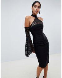 Vesper - High Neck Long Sleeve Lace Dress - Lyst