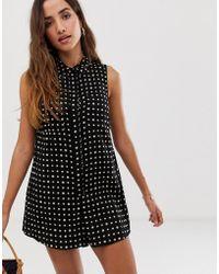 488d811bee ASOS - Sleeveless Shirt Swing Playsuit In Print - Lyst