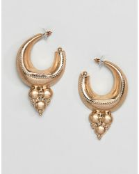 ASOS - Hoop Earrings In Adorned Design In Gold - Lyst