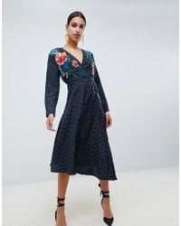 ASOS - Jacquard Wrap Midi Dress With Long Sleeves And Embroidery - Lyst