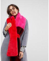 Warehouse - Premium Colourblock Faux Fur Scarf - Lyst