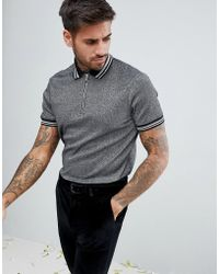 ASOS - Polo Shirt In Silver Metallic Fabric With Silver Tipping And Ring Pull - Lyst