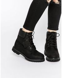 Timberland | 6 Inch Premium Black Lace Up Flat Boots | Lyst