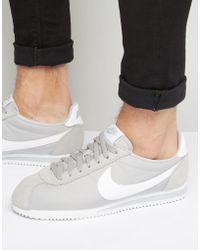 Nike - Classic Cortez Nylon Trainers In Grey 807472-010 - Lyst