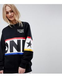 Converse - Exclusive One Star Boyfriend Fit Sweatshirt In Black With Logo - Lyst