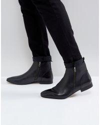KG by Kurt Geiger - Kg By Kurt Geiger Double Zip Boots Black Leather - Lyst