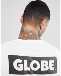 Globe - T-shirt With Back Sticker Logo Print In White - Lyst