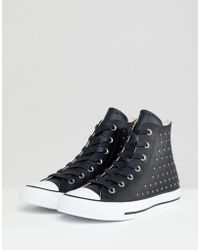 new products best sale buy online Lyst - Converse All Star Black Leather High Top Trainers in Black