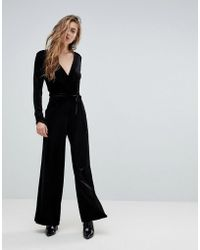 Miss Selfridge - V Neck Plunge Velvet Jumpsuit - Lyst