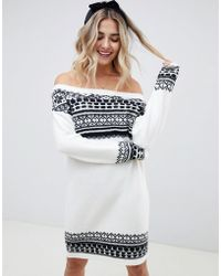 b2f433578ce ASOS - Fairisle Sweater Dress In Off Shoulder Shape - Lyst