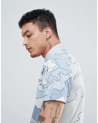 Aquascutum - Farley Atlas Print Logo Short Sleeve Shirt In Sky Blue - Lyst