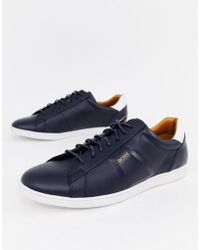 BOSS - Rumba Ten Leather Trainers In Navy - Lyst