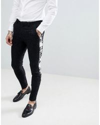 ASOS - Super Skinny Suit Pants In Black With Contract Palm Tree Tuxedo Stripe - Lyst