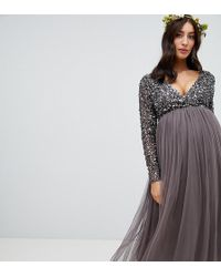 4d9a59f468 Maya Maternity - Long Sleeve Wrap Front Maxi Dress With Delicate Sequin And Tulle  Skirt In