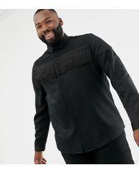 ASOS - Plus Regular Fit Satin Shirt With Fringing - Lyst
