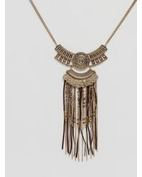 New Look - Bronzed Tassel Festival Necklace - Lyst