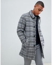 Bellfield - Wool Overcoat In Grey Dogtooth Check - Lyst