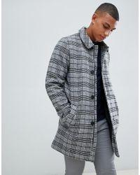 Bellfield - Wool Overcoat In Grey Houndstooth Check - Lyst