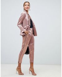 Little Mistress - Cigarette Trousers With Contrast Piping In Copper - Lyst