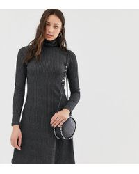 New Look Brushed Rib Roll Neck Dress In Gray