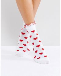 Lazy Oaf - Red Heart Socks - Lyst