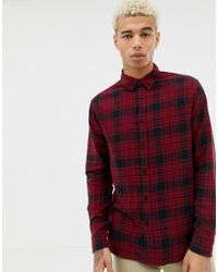 Bershka - Check Shirt In Red And Black With Button Down Collar - Lyst