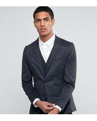 SELECTED - Suit Jacket With Brushed Tonal Check In Skinny Fit - Lyst