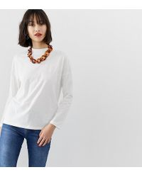 Mango - Long Sleeved T-shirt In White - Lyst