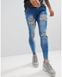 SIKSILK - Super Skinny Fit Jeans In Acid Blue With Distressing - Lyst