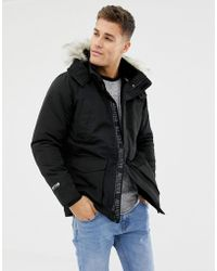 Hollister - All Weather Faux Fur Trim & Lining Hooded Parka In Black - Lyst
