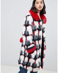 Urbancode - Printed Patchwork Faux Fur Coat - Lyst
