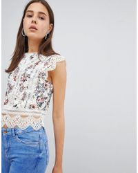 New Look - Printed Lace Trim Shell Top - Lyst