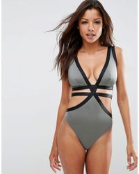 ASOS - Fuller Bust Exclusive Elastic Strappy Plunge Swimsuit Dd-g - Grey/black - Lyst
