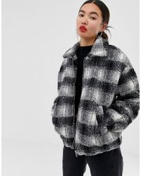 New Look - Brushed Check Teddy Borg Coat In Black - Lyst