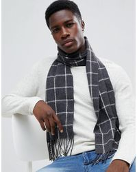 French Connection - Windowpane Checked Scarf - Lyst