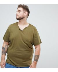 e1a26ede51245b ASOS - Plus Relaxed Fit T-shirt With Raw Notch Neck In Green - Lyst