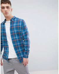 River Island - Regular Fit Shirt In Blue And Orange Check - Lyst