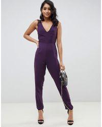 ASOS Lace Trim Peg Leg Jumpsuit - Purple