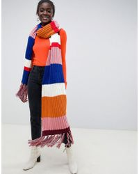 ASOS - Knitted Multi Stripe Super Long Scarf With Tassels - Lyst