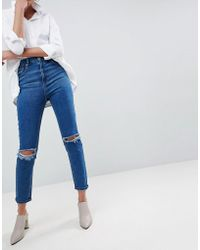 9d624a0de58 ASOS - Asos Farleigh High Waist Slim Mom Jeans In Bonnie Wash With Super  Wide Busted